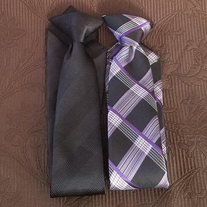 BILL BLASS PURPLE & BLACK NECK TIE BUNDLE